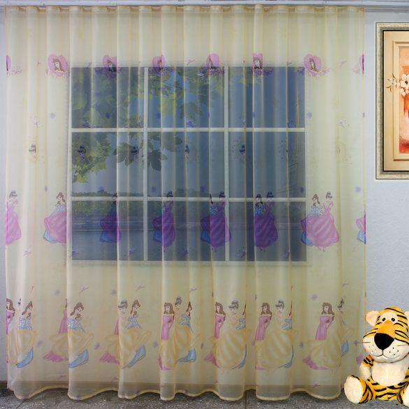 вуаль-печатная-с-детским-рисунком-жёлтая-с-принцессами