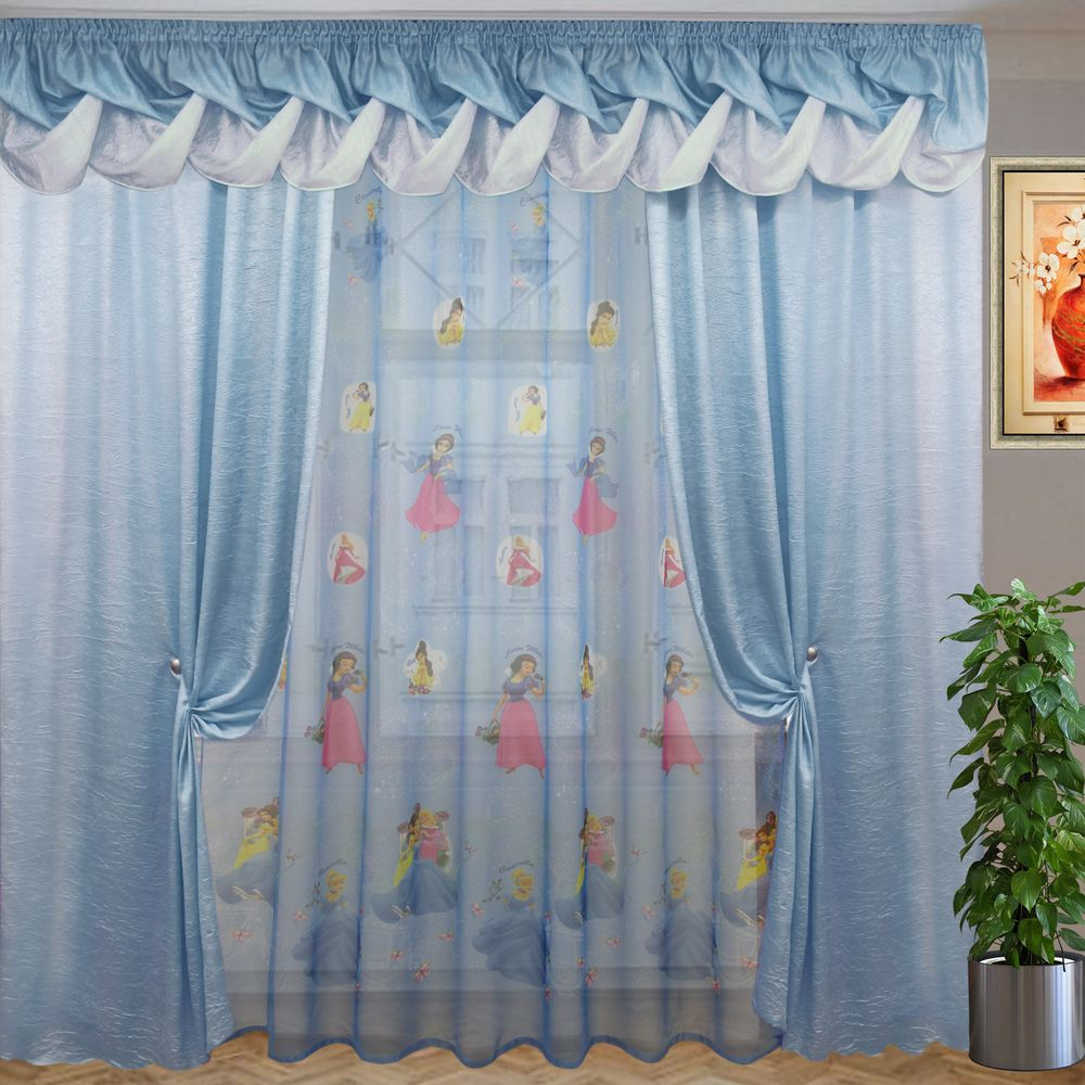комплект штор солнышко белоснежка голубой