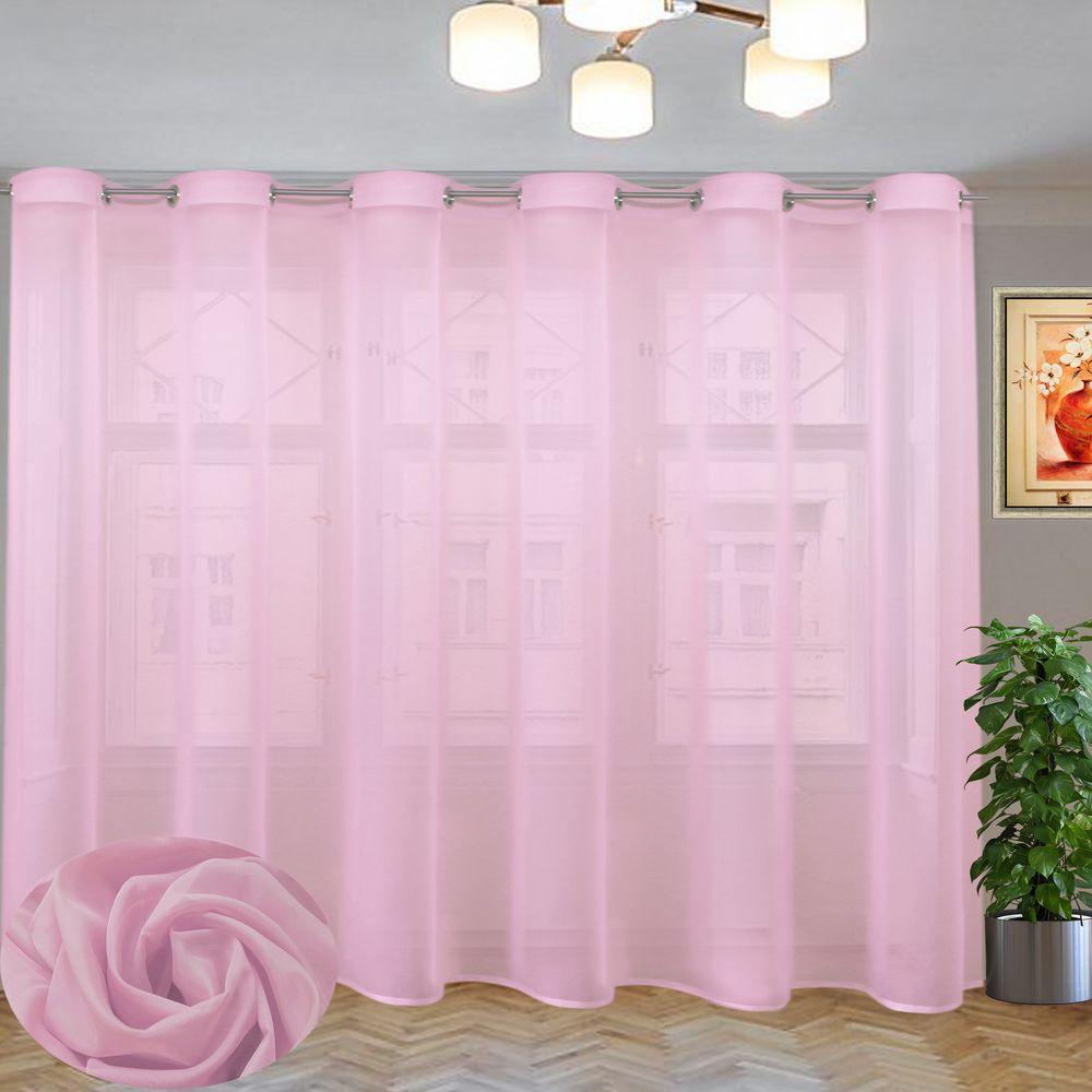 вуаль однотонная розовая на люверсах
