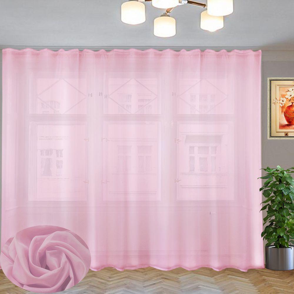 вуаль однотонная розовая на шторной тесьме